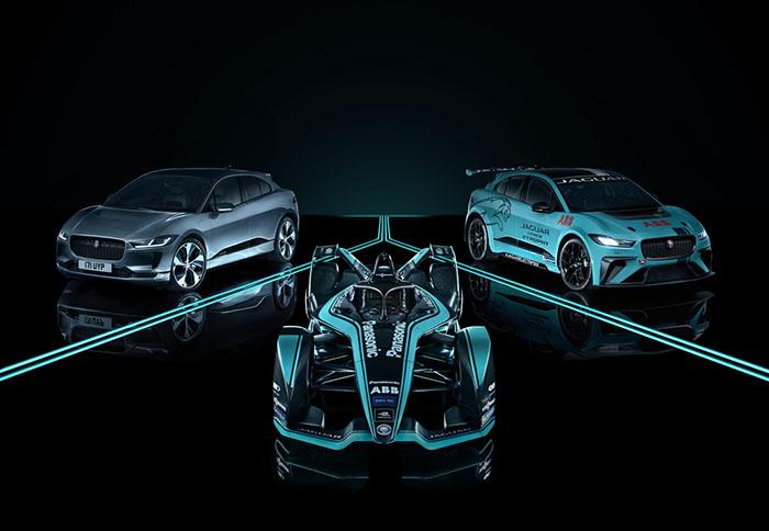 左:新英伦豪华纯电轿跑SUV捷豹I-PACE;中:捷豹I-TYPE电动方程式赛车;右:捷豹I-PACE eTROPHY纯电赛车.jpg